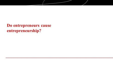 Do entrepreneurs cause entrepreneurship?. ENTREPRENEURship Market opportunities, technology changes, etc. play roles in entrepreneurship The entrepreneur.