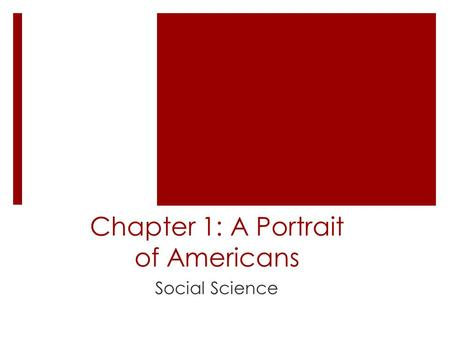 Chapter 1: A Portrait of Americans Social Science.