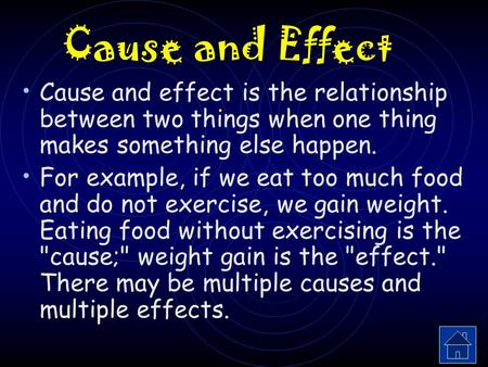 cause and effect relationship math definition