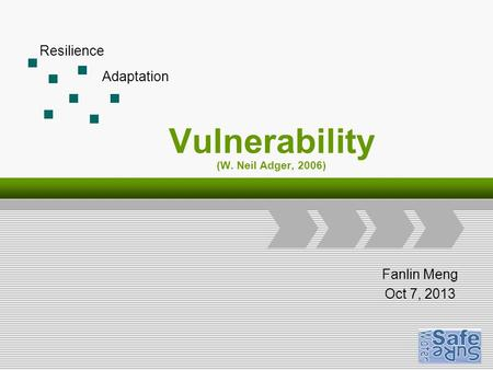 Logo Add Your Company Slogan Vulnerability (W. Neil Adger, 2006) Fanlin Meng Oct 7, 2013 Resilience Adaptation.