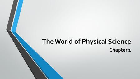 The World of Physical Science Chapter 1. Exploring Physical Science Science – the process of gathering knowledge about the natural world. Physical Science.