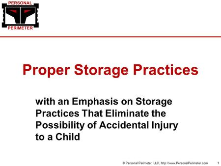 Proper Storage Practices with an Emphasis on Storage Practices That Eliminate the Possibility of Accidental Injury to a Child © Personal Perimeter, LLC,