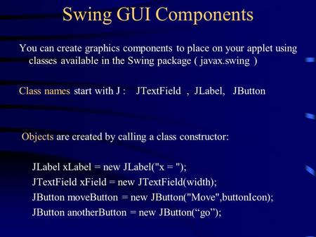 Swing GUI Components You can create graphics components to place on your applet using classes available in the Swing package ( javax.swing ) Class names.