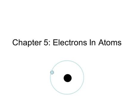 Chapter 5: Electrons In Atoms. Wave Nature of Light Electromagnetic Radiation – form of energy that exhibits wavelike behaviors as it travels through.
