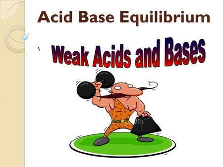 Acid Base Equilibrium Weak Acids & Bases. Recall From Yesterday…. pH = -log [H 3 O + ] [H 3 O + ] = 10 -pH pOH = -log [OH - ] [OH - ] = 10 -pH pK w =