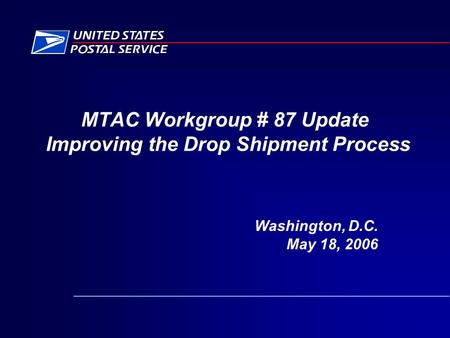 MTAC Workgroup # 87 Update Improving the Drop Shipment Process Washington, D.C. May 18, 2006.