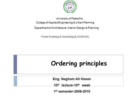Ordering principles Eng. Nagham Ali Hasan lecture-10th week 10th