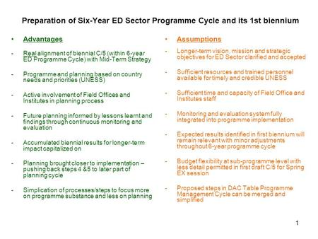 1 Preparation of Six-Year ED Sector Programme Cycle and its 1st biennium Advantages -Real alignment of biennial C/5 (within 6-year ED Programme Cycle)