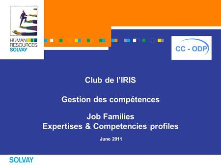 Club de l'IRIS Gestion des compétences Job Families Expertises & Competencies profiles June 2011.
