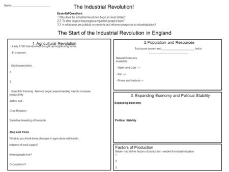 Name: _________________________ The Industrial Revolution! Essential Questions: 1.Why does the Industrial Revolution begin in Great Britain? 2.2. To what.