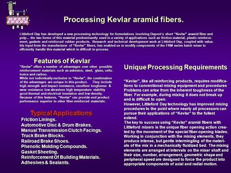 Processing Kevlar aramid fibers. Processing Kevlar aramid fibers. Littleford Day has developed a new processing technology for formulations involving Dupont´s.