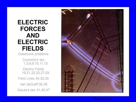 Physics II, Pg 1 ELECTRIC FORCES AND ELECTRIC FIELDS Classwork problems Coulomb's law 1,3,8,9,10,11,13 Electric Fields 19,21,23,25,27-29 Field Lines 30,32-35.