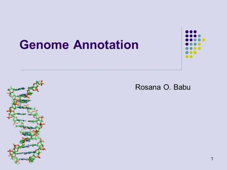 Genome Annotation Rosana O. Babu 1. Sequence to Annotation.