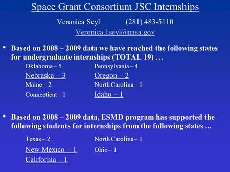 Space Grant Consortium JSC Internships Veronica Seyl(281) 483-5110 Based on 2008 – 2009 data we have reached the following states.