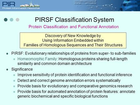 PIRSF Classification System PIRSF: Evolutionary relationships of proteins from super- to sub-families Homeomorphic Family: Homologous proteins sharing.