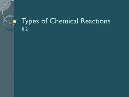 Types of Chemical Reactions 8.2. Types of Reactions Synthesis Decomposition Combustion Single Displacement Double Displacement.