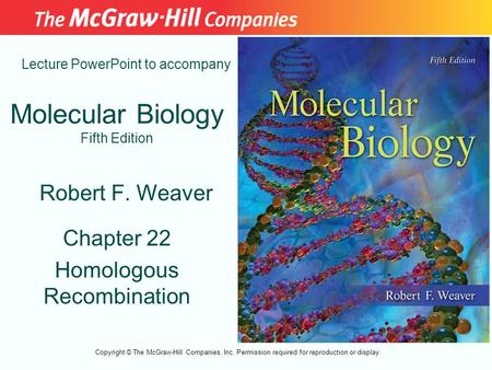 Molecular Biology Fifth Edition Chapter 22 Homologous Recombination Lecture PowerPoint to accompany Robert F. Weaver Copyright © The McGraw-Hill Companies,