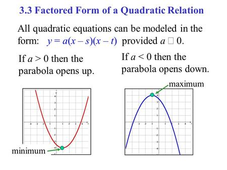 All quadratic equations can be modeled in the form: y = a(x – s)(x – t) provided a  0. If a > 0 then the parabola opens up. If a < 0 then the parabola.