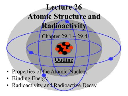 Lecture 26 Atomic Structure and Radioactivity Chapter 29.1  29.4 Outline Properties of the Atomic Nucleus Binding Energy Radioactivity and Radioactive.