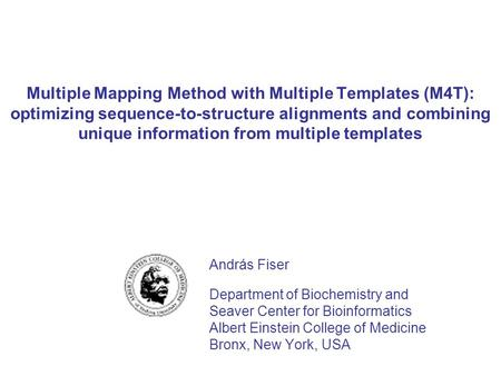 Multiple Mapping Method with Multiple Templates (M4T): optimizing sequence-to-structure alignments and combining unique information from multiple templates.