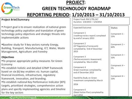 Copyright Reserved GreenTech Malaysia 1 Project Brief/Summary  Project goal is to ensure realization of national green technology policy aspiration and.