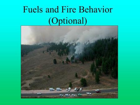 Fuels and Fire Behavior (Optional). OBJECTIVES Identify key elements of the fire environment: Fuels Weather Topography Fire behavior Discuss how the fire.