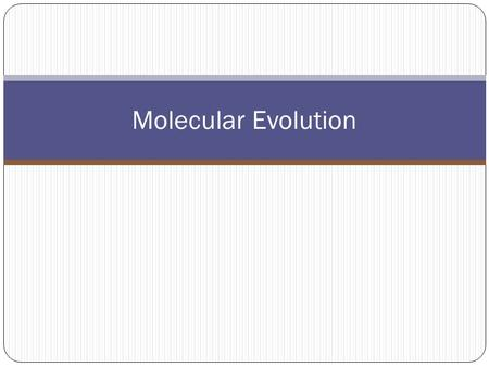 Molecular Evolution. The fact that all species utilize the same genetic code to synthesize proteins argues for a common ancestry to all life on earth.