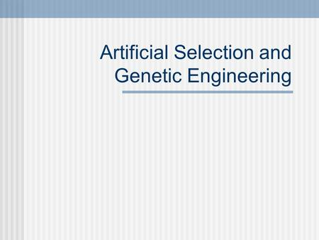Artificial Selection and Genetic Engineering Selective Breeding Choosing the BEST traits for breeding. Most domesticated animals are products of selective.