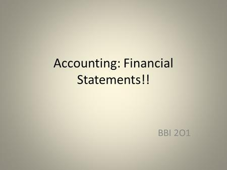 Accounting: Financial Statements!! BBI 2O1. The Balance Sheet Shows a business's financial position on a particular date The Balance Sheet Equation –