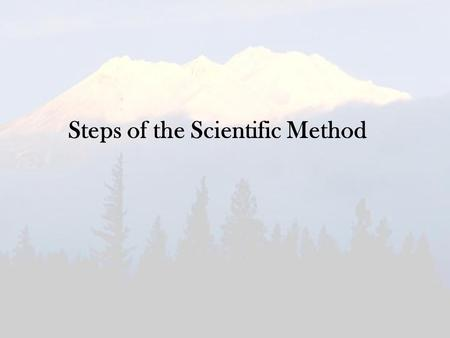 Steps of the Scientific Method. Decide on a Topic What are you interested in? What do you want to find out more about?