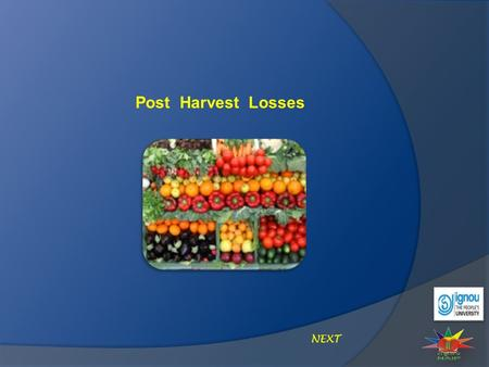 Post Harvest Losses NEXT. Post Harvest Losses Introduction Lowers the price for the consumer and increases the farmer's income. Utilizing improved post.