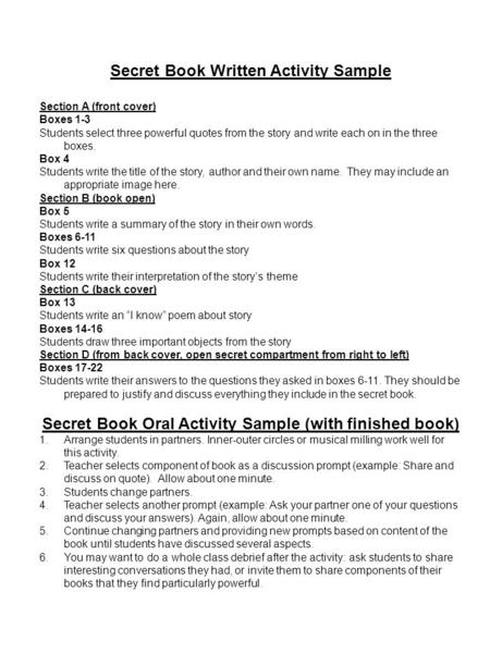 Secret Book Written Activity Sample Section A (front cover) Boxes 1-3 Students select three powerful quotes from the story and write each on in the three.