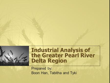 Industrial Analysis of the Greater Pearl River Delta Region Prepared by: Boon Han, Tabitha and Tyki.