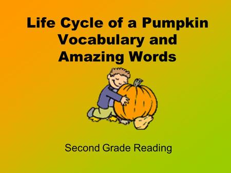 Life Cycle of a Pumpkin Vocabulary and Amazing Words Second Grade Reading.