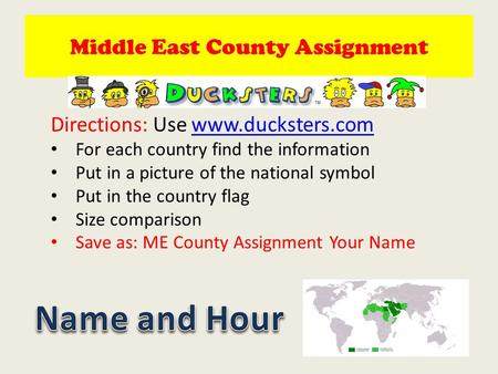 Middle East County Assignment Directions: Use www.ducksters.comwww.ducksters.com For each country find the information Put in a picture of the national.