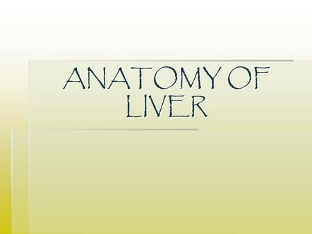 ANATOMY OF LIVER. Lesson Overview  The liver  The gall bladder  Bile  The relationship with other intra-abdominal structures.