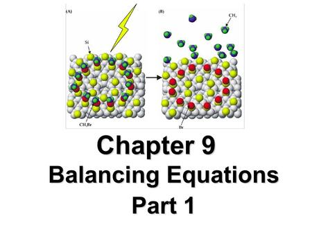 Chapter 9 Balancing Equations Part 1. Terms A chemical reaction is a process that always results in the change of chemical substances. A chemical equation.