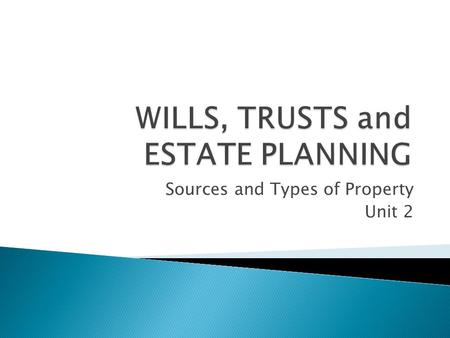 Sources and Types of Property Unit 2.  What is property which can be distributed in an estate?