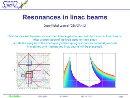 Page 1 J-M Lagniel ESS-Lund Feb 03, 2015 Resonances in linac beams Jean-Michel Lagniel (CEA/GANIL) Resonances are the main source of emittance growths.