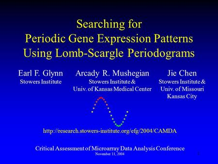 1 Searching for Periodic Gene Expression Patterns Using Lomb-Scargle Periodograms  Critical Assessment.