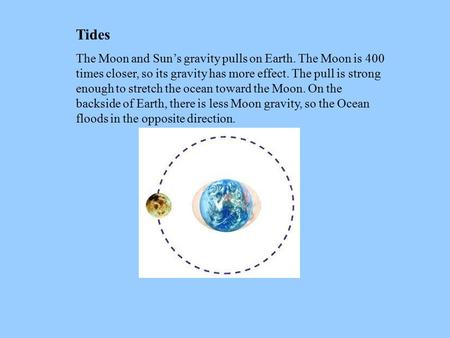 Tides The Moon and Sun's gravity pulls on Earth. The Moon is 400 times closer, so its gravity has more effect. The pull is strong enough to stretch the.
