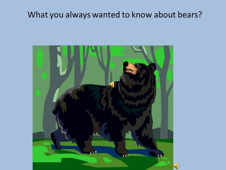 What you always wanted to know about bears? What is a bear? A large furry animal with a short tail. There are several kinds of bears, including black.