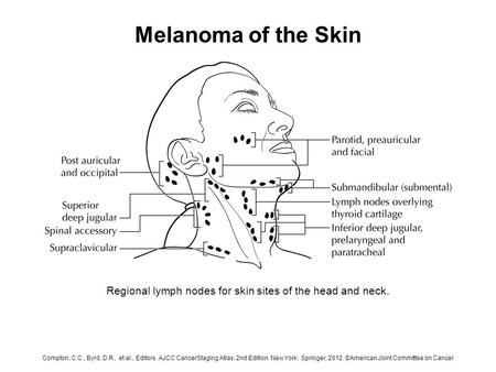 Melanoma of the Skin Regional lymph nodes for skin sites of the head and neck. Compton, C.C., Byrd, D.R., et al., Editors. AJCC CancerStaging Atlas, 2nd.