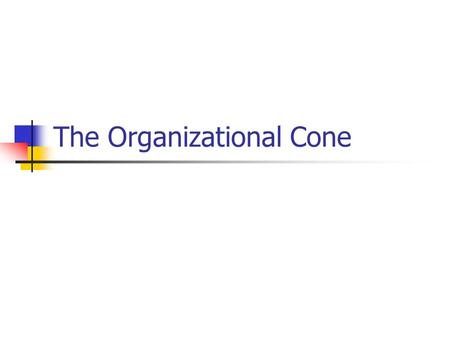 The Organizational Cone. Organizational Cone Developed by Swedish management consultant, Bo Gyllenpalm Significant to understanding organizational relationships.