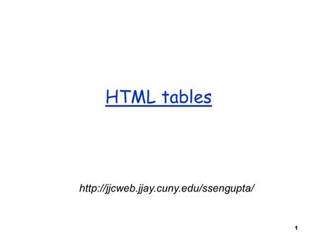 1 HTML tables