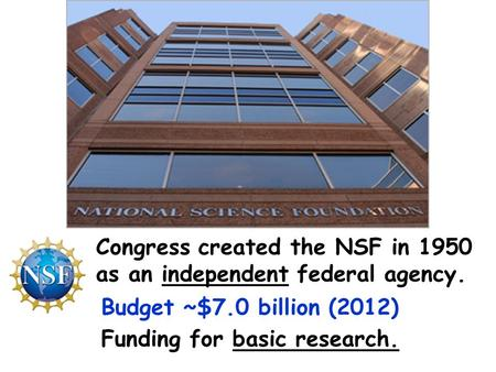 Congress created the NSF in 1950 as an independent federal agency. Budget ~$7.0 billion (2012) Funding for basic research.