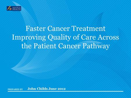 PREPARED BY Faster Cancer Treatment Improving Quality of Care Across the Patient Cancer Pathway John Childs June 2012.