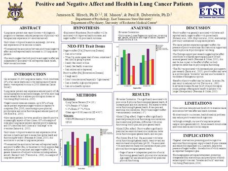 Positive and Negative Affect and Health in Lung Cancer Patients Jameson K. Hirsch, Ph.D. 1,2, H. Mason 1, & Paul R. Duberstein, Ph.D. 2 Department of Psychology,