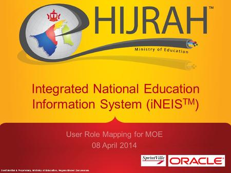 Integrated National Education Information System (iNEIS TM ) User Role Mapping for MOE 08 April 2014.