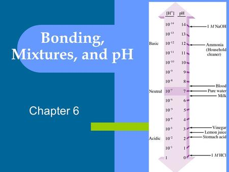 Chapter 6 Bonding, Mixtures, and pH. What do atoms make up? ELEMENT: a substance made up of the same atoms – i.e. oxygen (O), gold (Au), carbon (C), COMPOUND: